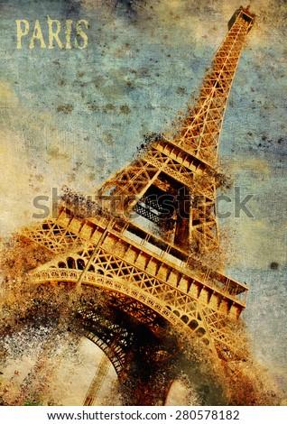 Paris. Eiffel-tower grunge illustration, Artwork. - stock photo