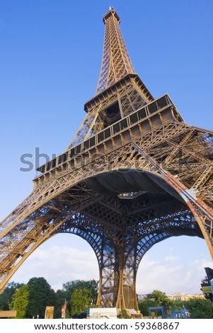 Paris - Eiffel Tower on a blue sky - stock photo