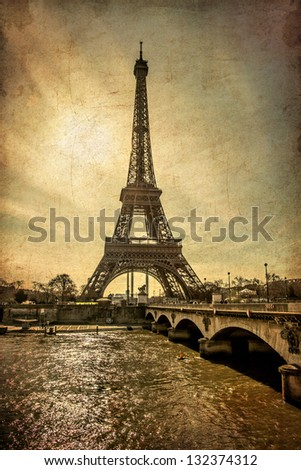 Paris Eiffel Tower Sunset Vintage Style - stock photo