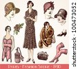 Paris Fashion Store 1930 - vintage engraved illustration - Catalog of a French department store - Paris 1930 - stock photo