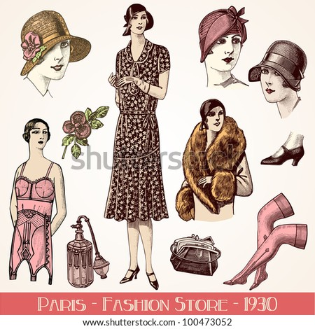 Paris Fashion Store 1930 - vintage engraved illustration - Catalog of a French department store - Paris 1930