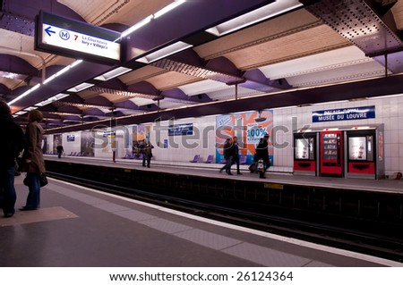 PARIS - FEBRUARY 28: Paris' metro-station on February 28, 2009 in Paris. - stock photo