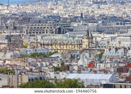 Paris, France - aerial city view. UNESCO World Heritage Site. - stock photo