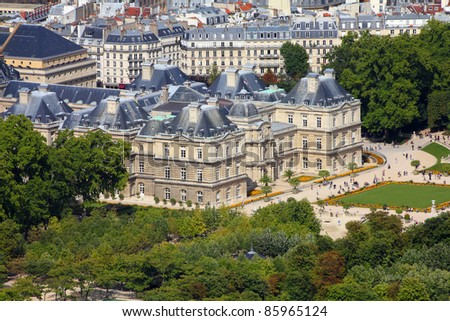Paris, France - aerial city view with Luxembourg Palace. UNESCO World Heritage Site. - stock photo