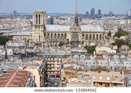 Paris, France - aerial city view with Notre Dame cathedral. UNESCO World Heritage Site.