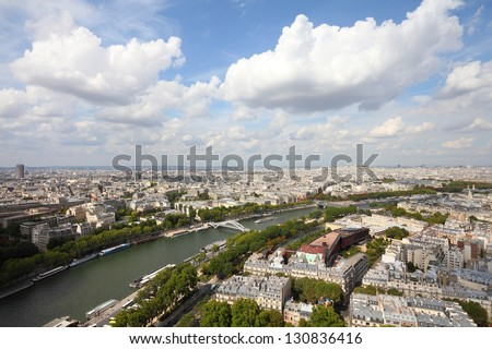 Paris, France - aerial city view with Seine River. UNESCO World Heritage Site. - stock photo