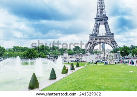 Paris, France. Amazing Eiffel Tower view from Trocadero Gardens. - stock photo