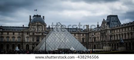 Paris, France - April 6, 2014, Image of the Louvre pyramid in Paris, France - stock photo