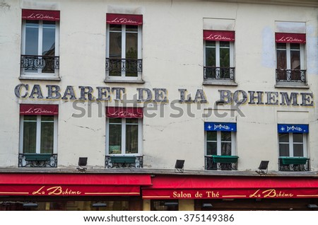 Paris France 2014 April 21,  The Montmarte district of Paris is an historic entertainment area  of  Paris