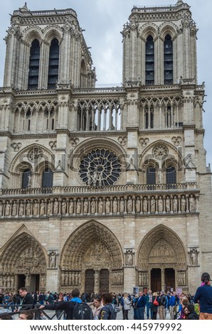Paris France 21 April 2014 The Notre Dame cathedral in central Paris is one of the most famous churches in France