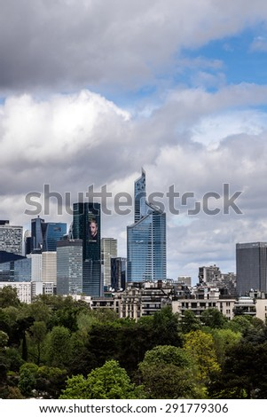 PARIS, FRANCE - APRIL 25, 2015: View of Defense business district from Building of Louis Vuitton Foundation. Defense is biggest business district in France; most of large companies have offices here.