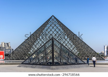 PARIS, FRANCE - APRIL 24, 2015: View of Grand Louvre Pyramids (1988) at Court Napoleon of Louvre Museum. Louvre Museum is one of the largest and most visited museums worldwide. - stock photo