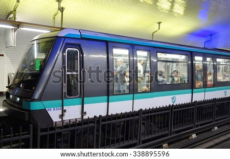 PARIS, FRANCE -15 AUGUST 2015- A car of the Paris metro subway managed by the RATP. - stock photo