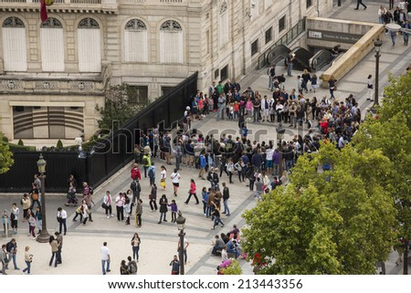 Paris, France - August 17: Aerial view over Paris, France from the Arc de Triomphe on August 17, 2014. - stock photo