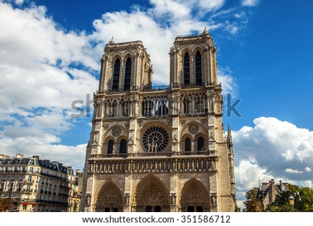 PARIS, FRANCE - AUGUST 30, 2015: Cathedral Notre-Dame de Paris - Built in French Gothic architecture, and it is among the largest and most well-known church buildings in the world. Paris.