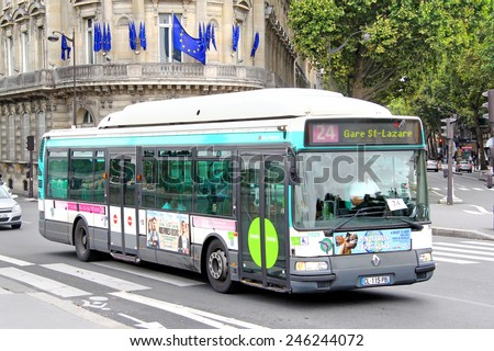 PARIS, FRANCE - AUGUST 8, 2014: City bus Renault Agora S GNV at the city street. - stock photo