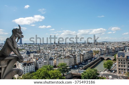 PARIS, FRANCE- AUGUST 18, 2014; Notre-Dame Cathedral or simply Notre-Dame, is a historic Catholic cathedral on the eastern half, in the fourth arrondissement of Paris, France.