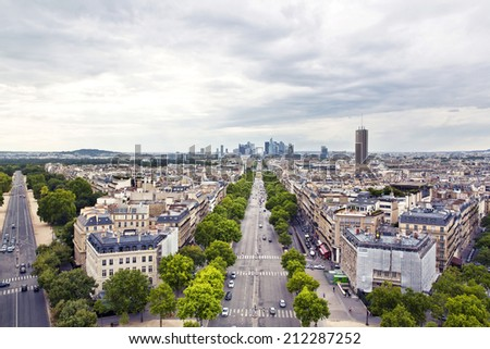 PARIS, FRANCE, August 4, 2014: Panoramic view of Paris from the Arc de Triomphe - stock photo