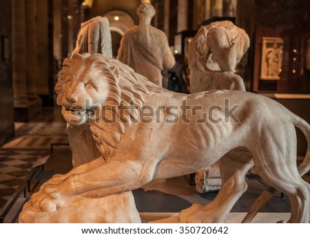 PARIS, FRANCE - AUGUST 30, 2015: Sculpture hall of the Louvre museum, Paris, France. Louvre is the most-visited museum in the world.