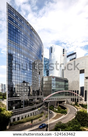 PARIS, FRANCE - AUGUST 27, 2016: Skyscrapers in the business district of La Defense