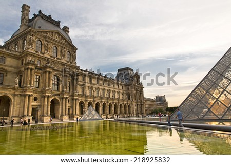 PARIS, FRANCE, August 9, 2014: The famous Louvre museum in Paris, France