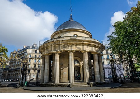 PARIS, FRANCE - AUGUST 28, 2015: The Rotunda of Monceau Park was built in 1787 as part of the Wall of the Farmers-General.
