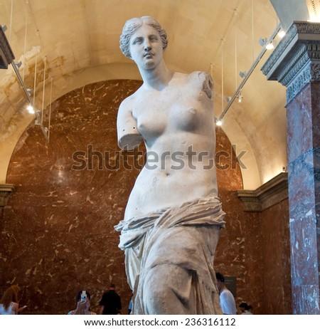 PARIS, FRANCE-AUGUST 16: Venus de Milo at the Louvre Museum on August 16,2009 in Paris, France. - stock photo
