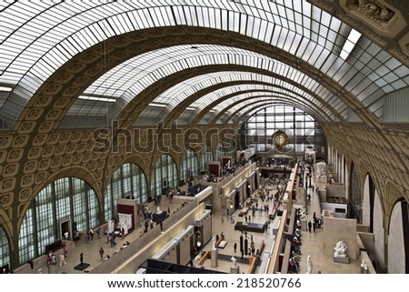 PARIS, FRANCE, August 6, 2014: view of the interior of Musee d'Orsay in Paris, France on August 6, 2014. The museum has the largest collection of impressionist art in the world. - stock photo