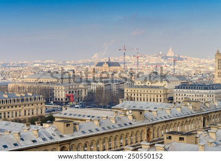 Paris, France. Beautiful city aerial view from the top of Notre Dame. - stock photo