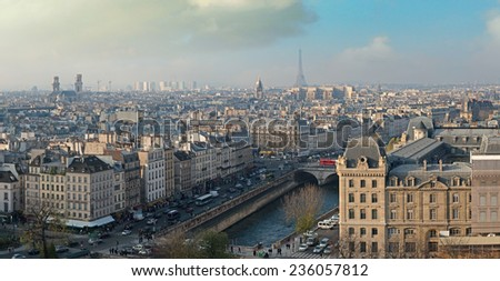 Paris, France. Beautiful city panoramic skyine from the top of Notre Dame. - stock photo