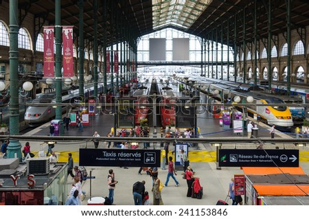 PARIS, FRANCE - CIRCA AUGUST 2011: TGV's and Thalys trains in Gare du Nord. - stock photo