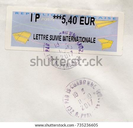 Paris France Circa October 2017 Stamp Stock Photo Royalty Free