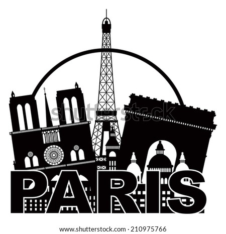 Paris France City Skyline Outline Silhouette Black in Circle Isolated on White Background Panorama Illustration - stock photo