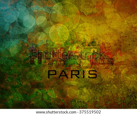 Paris France City Skyline with Paint Splatter Abstract onn Grunge Texture Background Color Illustration - stock photo