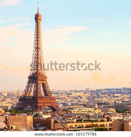 Paris, France - cityscape with Eiffel Tower in the light of sunset. UNESCO World Heritage Site. Square composition. - stock photo