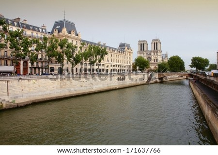 Paris, France - cityscape with famous Notre Dame cathedral. UNESCO World Heritage Site. - stock photo