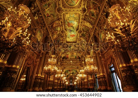 PARIS, FRANCE - DEC 16, 2005: Interior of the Palais Garnier (Opera Garnier) in Paris, France. It was originally called the Salle des Capucines. Was built from 1861 to 1875 for the Paris Opera. - stock photo