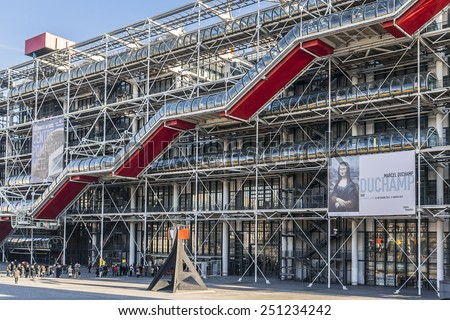 PARIS, FRANCE - DECEMBER 22, 2014: Centre Georges Pompidou (1977) was designed in style of high-tech architecture. It houses library, National Art Modern museum and IRCAM. - stock photo