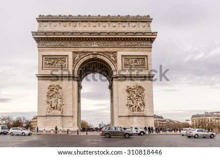 "Paris, France - December 21: The ""Arc de Triomphe"" in Paris France, on December 21, 2013."