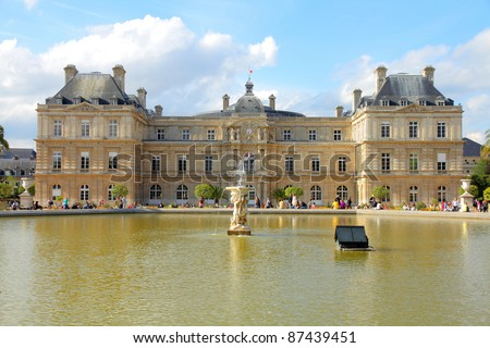 Paris, France - famous landmark, Luxembourg Palace and park. UNESCO World Heritage Site. - stock photo
