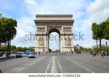Paris, France - famous Triumphal Arch located at the end of Champs-Elysees street. UNESCO World Heritage Site. HDR photo. - stock photo