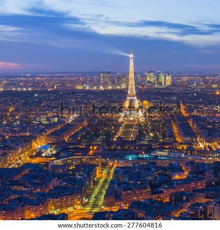 PARIS, FRANCE - FEB 28, 2015: The Eiffel Tower is one of the world's most famous landmark. It is also one of the most visited place in Paris, France