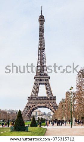 PARIS, FRANCE - FEBRUARY 06, 2016: Eiffel tower in Paris, France. The Eiffel tower is the most visited touristic attraction in France.