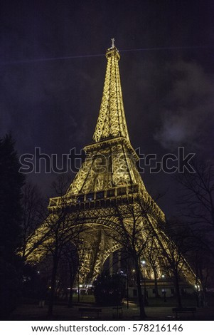 PARIS, FRANCE- February 14, 2014 : The night View on Eiffel Tower the most popular attractions in Paris