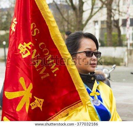 Paris; France-February 14, 2016 : The participant of Chinese New Year parade shown on February 14, 2016 in Paris, France.