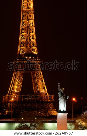 Paris, France, 2 February 2009: The small Statue of Liberty is a gift from the American people living in Paris, in 1885. It's located near the Eiffel tower, the most visited monument of France. - stock photo