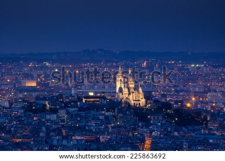 Paris France in night time - stock photo