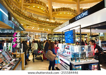 PARIS, FRANCE - JAN 17, 2015: Old part of Lafayette department store in Paris, France. The Galeries Lafayette most famous luxury store in the world since 1895. - stock photo