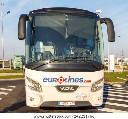 Paris, France - January 1, 2015: White mainline passenger bus Euroline. The most convenient and inexpensive means of transportation in Europe.