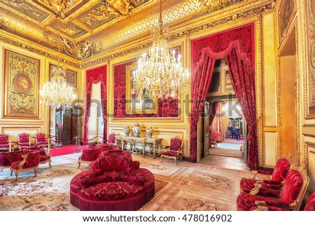 PARIS, FRANCE - JULY 03, 2016 :  Apartments of Napoleon III. Louvre Museum is the biggest museum in word with nearly 35,000 exhibits.